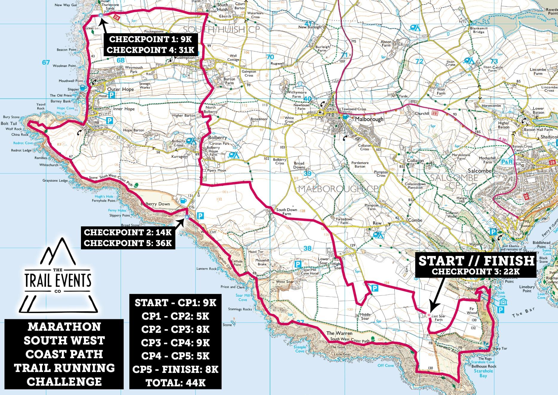 SWCP Marathon Route